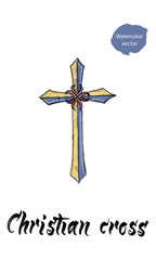 Christian cross, watercolor hand drawn vector illustration