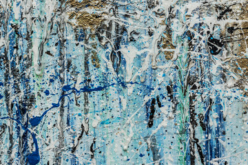 Abstract artistic grunge background. Acrylic colorful stains on canvas (blue, white, gold, black, turquoise)