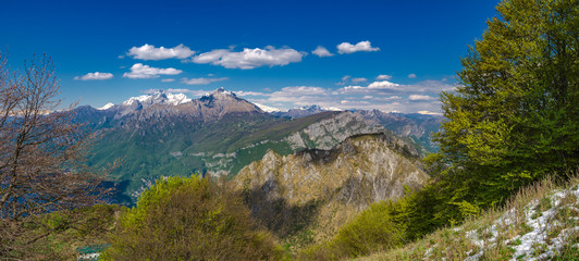 Orobie Alps as seen from hikitg trail to Corni di Canzo