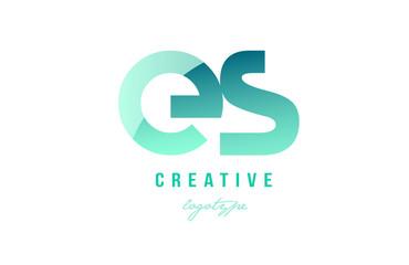 green gradient pastel modern es e s alphabet letter logo combination icon design