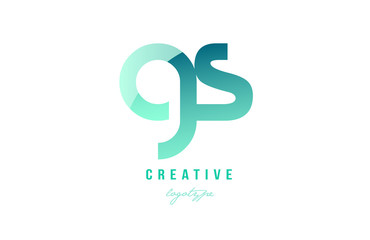 green gradient pastel modern gs g s alphabet letter logo combination icon design