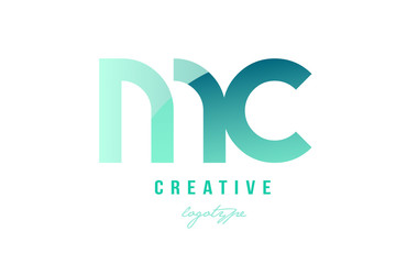 green gradient pastel modern mc m c alphabet letter logo combination icon design