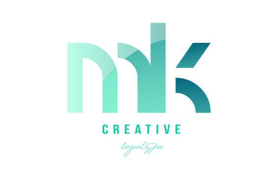 green gradient pastel modern mk m k alphabet letter logo combination icon design