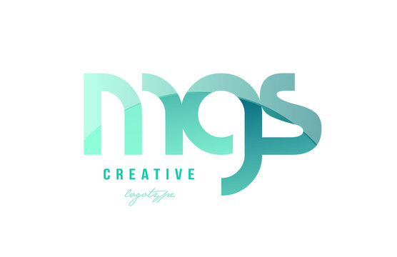 green gradient pastel modern mgs m g s alphabet letter logo combination icon design