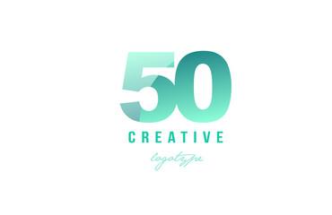 50 green pastel gradient number numeral digit logo icon design