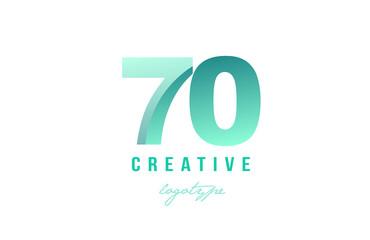 70 green pastel gradient number numeral digit logo icon design