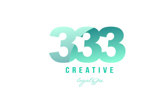 333 green pastel gradient number numeral digit logo icon design