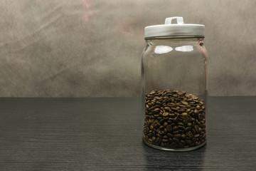 Delicious coffee in grain in a jar.