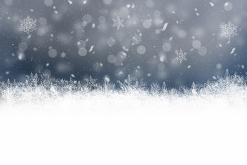 Dark Winter Background with snowflakes for your own creations