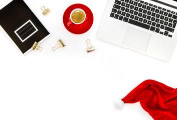 Office desk Laptop coffee note book Flat lay social media
