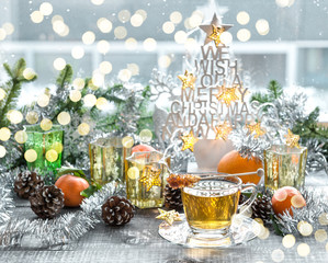 Cup tea Christmas decoration Winter golden lights