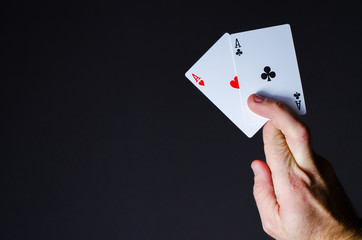 aces in hand, game with cards