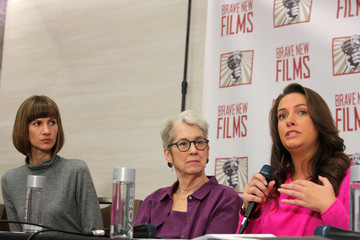 "Rachel Crooks, Jessica Leeds and Samantha Holvey speak at news conference for the film ""16 Women and Donald Trump"" in Manhattan, New York."
