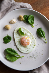 Single fried egg in egg shape over white plate garnished with spinach, green herbs, salt, papper, horseradish and hummus over wooden bord with grey napking on the side