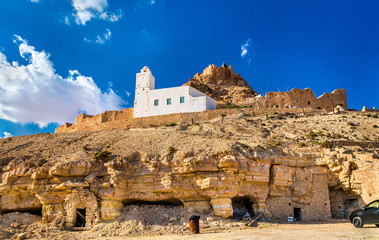 View of Doiret, a hilltop-located berber village in South Tunisia