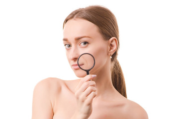 Beautiful young woman beauty face skin magnifier wrinkles