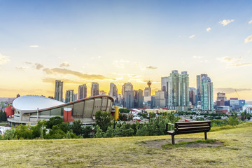 Downtown of Calgary at sunset during summertime, Alberta, Canada Wall mural
