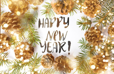 Happy New Year card with pine cones