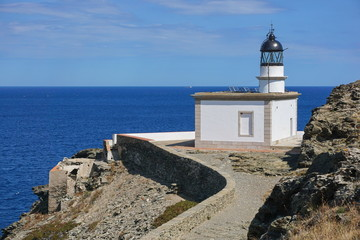Spain Cadaques Cala Nans lighthouse on the Mediterranean sea shore, Costa Brava, Cap de Creus, Alt Emporda, Catalonia