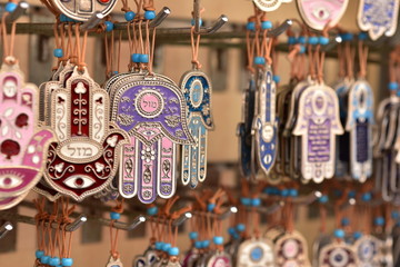 Hamsa (Hand of God) pendants and jewelry for sale in the Jaffa flea market, Tel Aviv, Israel