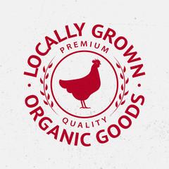 Chicken silhouette logo, label, badge, emblem.