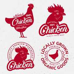 Set of Chicken logos, labels, prints, posters for butcher shop, farmer market.