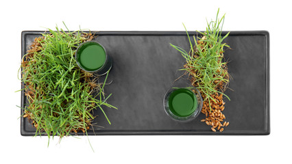 Tray with shots of healthy juice and sprouted wheat grass on white background