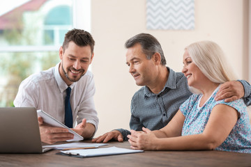 Male insurance agent consulting senior couple in office