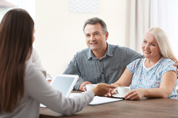 Female insurance agent consulting senior couple in office