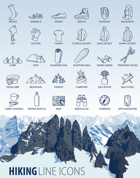 vector set of thin line hiking camping travel Icons with mountains background