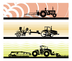 Set of different types of gardening and agricultural vehicles and machines. Spraying, agricultural protection, sowing, mowing, harvesting, planting, Agricultural works, soil preparation, arable land.