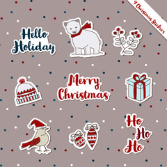 A set of Christmas stickers, scrapbook, gift tags with text, bear, bird, bobble hat, ornament, warm wish items, wool, holly jolly celebration, decorated scrapbook wrapping paper season greeting.