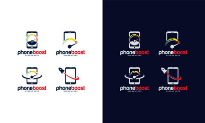 Set of Phone Booster Logo template designs,Phone Boost logo collection Vector