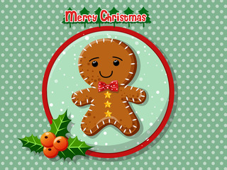 Merry Christmas cute cartoon Gingerbread man cookies on a colorful background. Happy New Year and decoration element