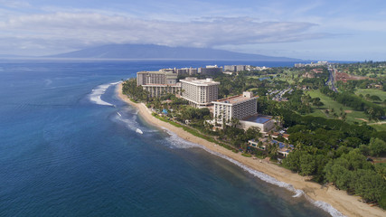 Aerial View - Ka'anapali Beach - Island of Maui - Hawaii