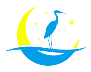 crescent moon stork vector illustration