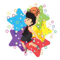 Boy air slam Basketball character design cartoon art illustration
