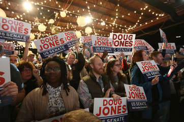 Democratic Alabama U.S. Senate candidate Doug Jones host a rally at Old Car Heaven in Birmingham