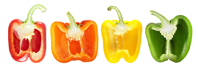 Set of sweet peppers of different colors (green, yellow, orange, red) cut in half inside longitudinal section isolated on white background
