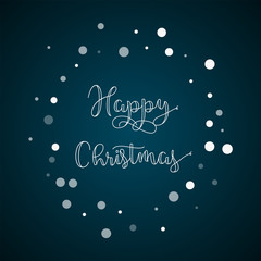 Happy Christmas greeting card. Falling white dots background. Falling white dots on blue background.great vector illustration.