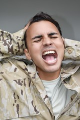 Young Male Soldier Under Stress