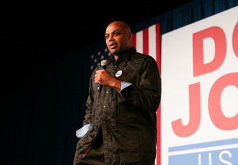 Former NBA basketball player Charles Barkley speaks to the crowd in support of Democratic Alabama U.S. Senate candidate Doug Jones, during a rally at Old Car Heaven in Birmingham,