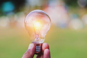 concept eco - hand holding light bulb  with idea saving power energy