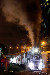 Tourist train 'La Sabana' is seen with Christmas lights in Bogota