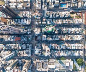 Top view of compact city in Hong Kong