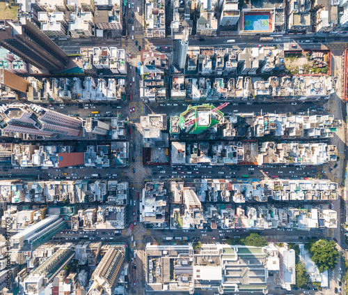 top view of compact city in hong kong stock photo and royalty free