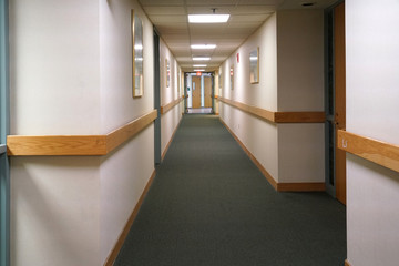 Perspective view of hallway inside hospital