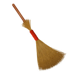 Broom with short wooden handle