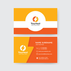 Creative business card in yellow and orange color, Vector modern creative and clean business card template, flat design with storm symbol logo, business card vector template