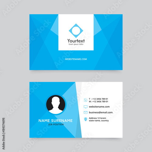 Elegant Clean Blue Business Card Design Vector Modern Creative And